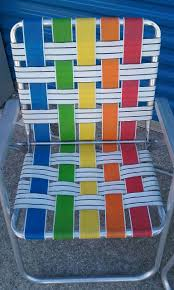 Pair Of Vintage Rainbow Webbed Aluminum Folding Lawn Chairs ...
