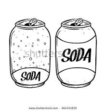 Hand drawing soda can with text on white background