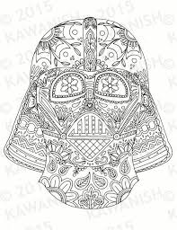Day Of The Dead Darth Vader Mask Adult Coloring Page Gift Wall Art Star Wars Mandala PagesEasy