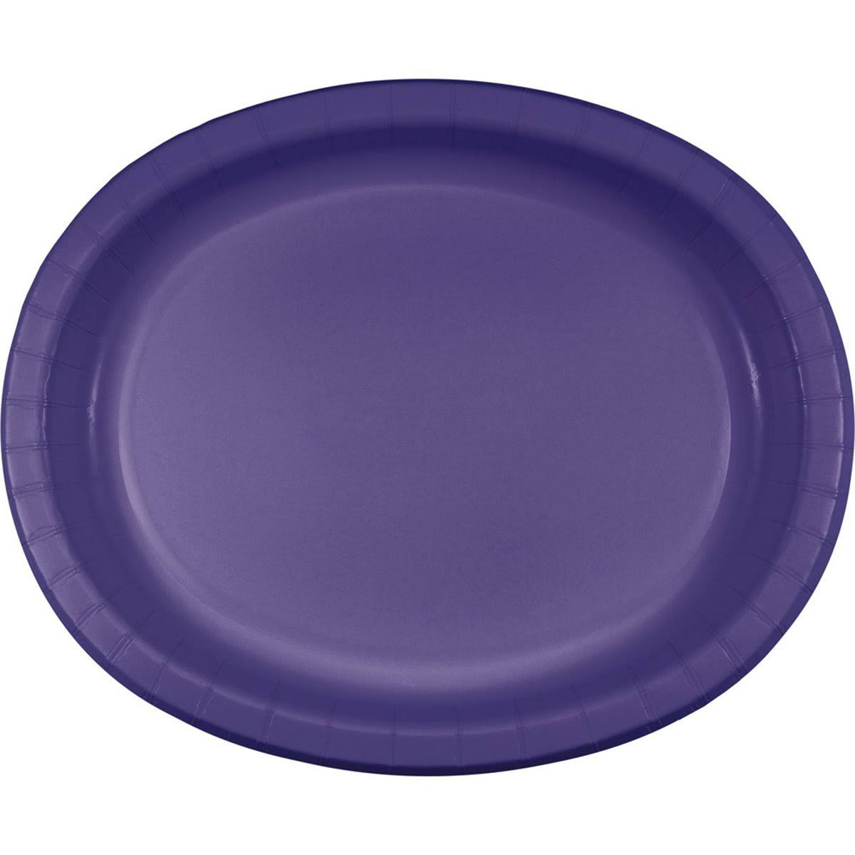 Creative Converting Touch of Color Paper Oval Platters - Purple, 8ct, 12""