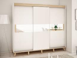 schiebetürenschrank hopen skandinavisches design sonoma weiß stilvolle möbelfüße und spiegel 250 cm
