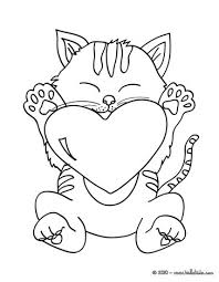 Cat With Heart Coloring Page