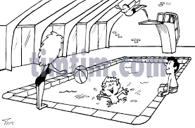 A BW Cartpoon Drawing Of Mother With Several Children At And Indoor Swimming Pool Diving Board