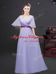 Lavender Zipper Wedding Guest Dresses Ruching And Belt Half Sleeves Floor Length