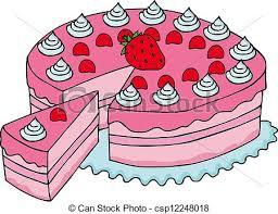 Sliced Pink Cake Vector