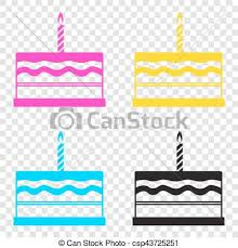 Birthday Cake Sign Cmyk Icons Transparent Background Cyan Vector