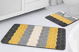 sue ltd rutschfeste badematte und wc vorleger streifen design für badezimmer weich und saugfähig zweiteilig rutschfest gelb