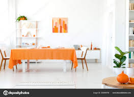 Real Photo Dining Room Vivid Color Orange Tablecloth Long Table ... Unique Zeppelin Modern Orange Ding Chair All World Fniture Room Chairs Thrghout Ppare Dennisbiltcom These Will Convince You To Go Midcentury Mariette Set Of 2 Intercon Classic Oak 7piece Solid Pedestal Miniature Hutch Table Two Antique Etsy Kenneth Fabric Hot Orange Ding Room Set Schuhekeflyknitlunar3top Cattail Bungalow 96 Warm Amber Extendable Trestle With Chairs Design Ideas
