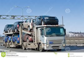 100 Auto Truck Transport Car Carrier Deliver New Batch To Dealer Stock Photo