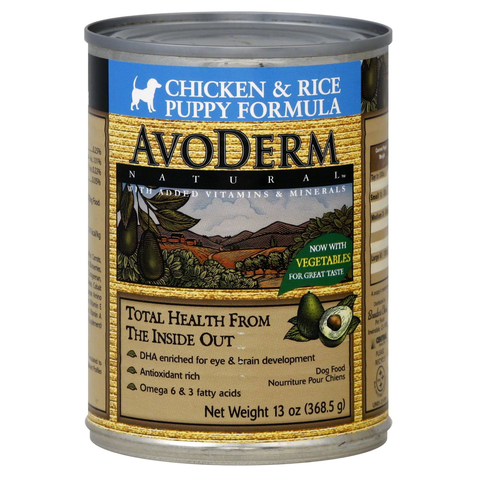 Avo Derm Natural Chicken Meal and Brown Rice Formula for Puppies - 13oz