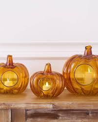 Glass Blown Pumpkins by Fall Pumpkin Glass Candle Holder Balsam Hill