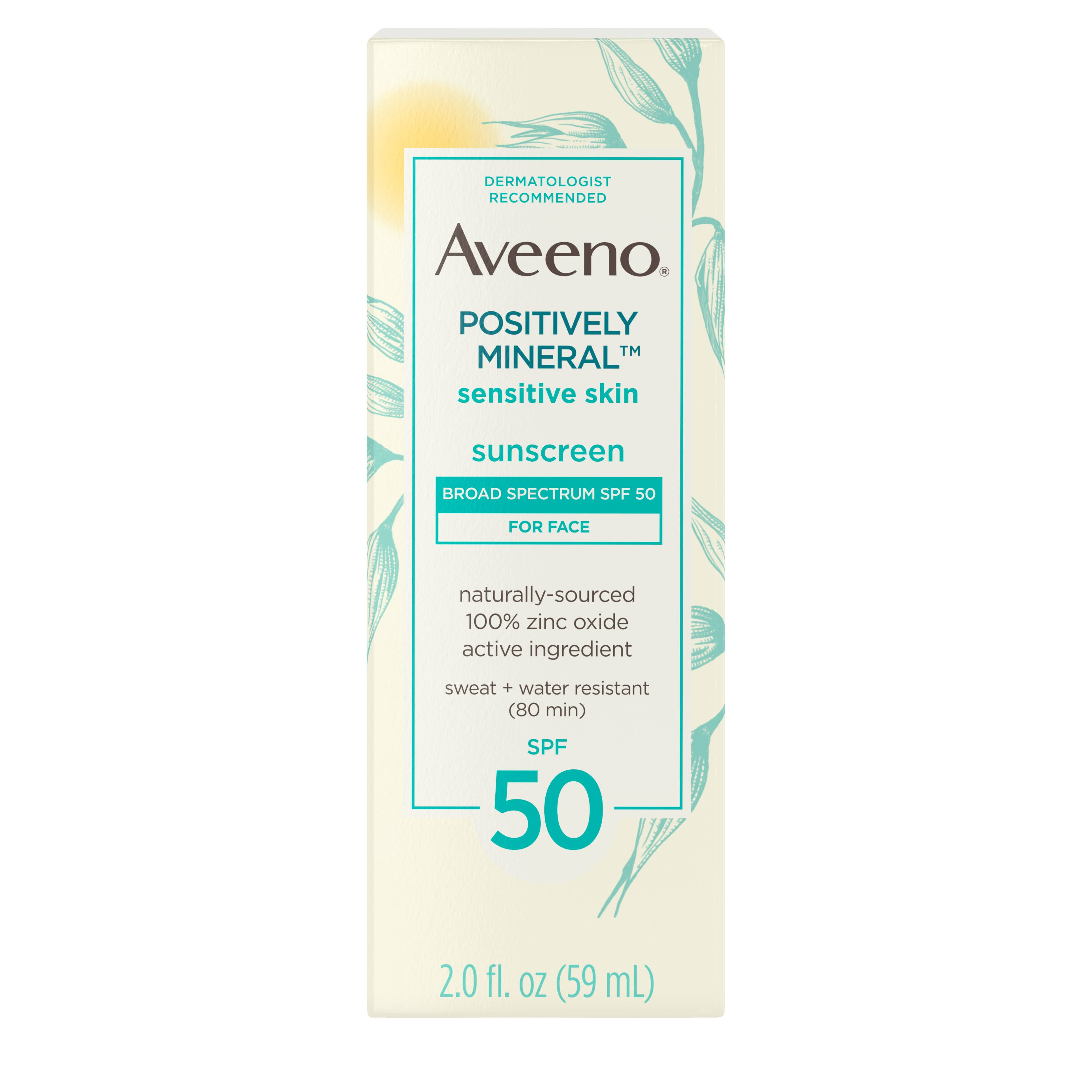 Aveeno Positively Mineral Sunscreen, For Face, Broad Spectrum SPF 50 - 2.0 fl oz