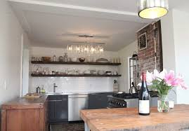 Dark Wood Shelves Kitchen Rustic With Open Shelving Stainless Steel Appliances Linear Suspension Light