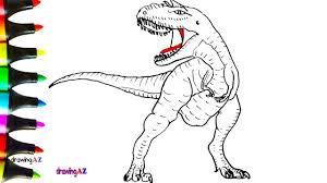 Draw Allosaurus Dinosaur In Jurassic World And Coloring Pages