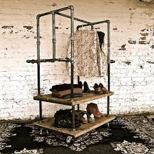 American Retro Industrial Iron Pipes Clothing Rack Store Display Creative Wrought Wood
