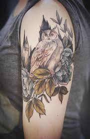 A Harry Potter Inspired Sleeve Tattoo The Owl Symbolizes Character From Book As