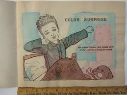Vtg 1952 Color Surprise Paint With Water Book Lithograph Saalfield Pub Framable