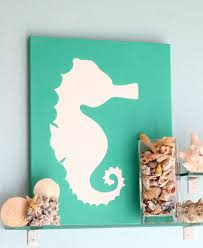 Interior Dazzling Room Decor With Lavish Painting Of Animal Sea Green Background Attached On
