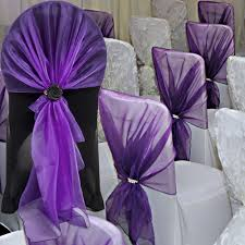 US $13.6 49% OFF|10 Pcs 65x275 Cm Organza Chair Hoods / Chair Caps / Wrap  Tie Back / Chair Cover Sash For Wedding Event&Party&Banquet Decoration-in  ...
