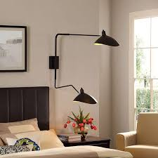 serge mouille style two arm rotating wall l sconce emfurn