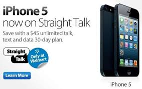 Straight Talk iPhone 5 available through BYOD GSM Walmart