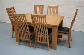 Riga 14m Oak Table With 6 Lichfield Solid American Chairs And Brown Leather Pads Special Set Price Of Just GBP699