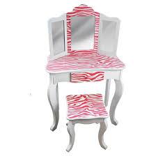 kids vanity table and stool set wood zebra teamson target