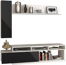 wohnwand lumia 1p design mediawand modernes wohnzimmer set anbauwand hängeschrank wandregal tv lowboard weiß schwarz hochglanz