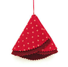 Easy Christmas Crafts Folded Felt And Fabric Tree Finished Red Version With Pinked Edges