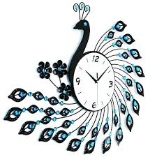Decorative Wall Clocks Gorgeous Iron Peacock Design With Artificial Diamonds Decoration Battery Clock