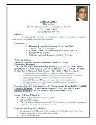 Community Pharmacist Resume Ave Apt A Ca Tel Sample Pharmacy Templates