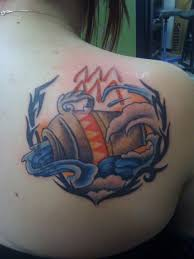 Tribal Aquarius Tattoo On Right Back Shoulder