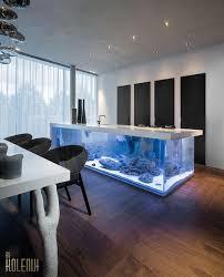 Nautical Theme For Modern Kitchen Design With Aquarium Island