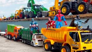 Spiderman And Batman Play Cars Toys | Dump Trucks | Garbag Truck ...