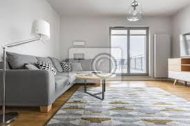 fototapete grau und weißes wohnzimmer