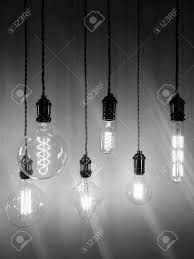 industrial style light bulbs of different shapes black and white