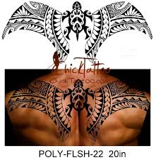 Polynesian Style Back Flash Tattoo Design 20 In