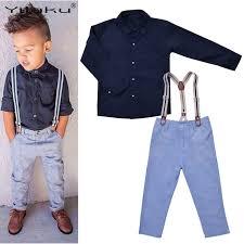 Baby Boy Suspender Outfits Kids Formal Clothes Set Boys Gentleman Suit Children Clothing Sets Long