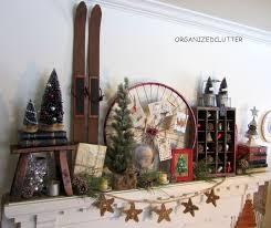 Vintage Rustic Christmas Mantel Decorations Repurposing Upcycling Seasonal Holiday Decor Crocheted