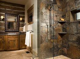 With Inset Stone Corner Shelves Sconces Surround Mirror Rustic Wood