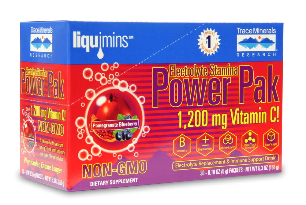 Trace Minerals Research Power Pak Vitamin C - Pomegranate & Blueberry, 30 Packs