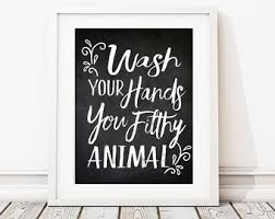 Leopard Print Bathroom Wall Decor by Wash Your Hands Sign Printable Art Bathroom Prints Funny