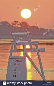 Beach Lifeguard Chair Plans by Sun Rising Over Lifeguard Chair Compo Beach Westport Ct Usa