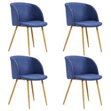 vidaxl esszimmerstühle 4 stk blau stoff