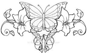 Butterfly Lower Back Tattoo And Flower Design For Girls