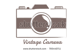 Vintage Outline Photo Camera Retro Geometric Hipster Styleart Technology Concept In Vector On White Background