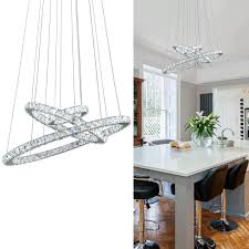 KAI Crystal Chandelier Island Pendant Light Contemporary Not Dimmable LED Lamp With Adjustable Height 3 Rings 6000K 8640LM Chrome Modern Flush Mount