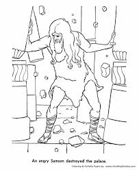 Samson Pulled The Pillars Down And Killed His Enemies Print This Bible Story Character Coloring Activity Sheet For Your