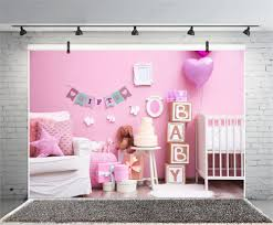 100 Boudoir Sofa Laeacco Pink Baby Shower Backdrops Crib Its A Girl