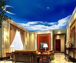 himmel tapete wohnzimmer schlafzimmer thema hotel ktv esszimmer dekoration blau crescent moon deckenmalerei